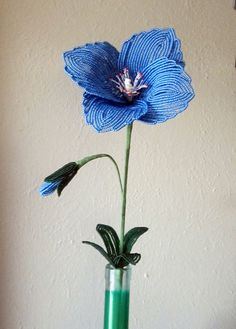 Himalayan Poppy  French Beaded Flower by DeesBeadedFlowers on Etsy