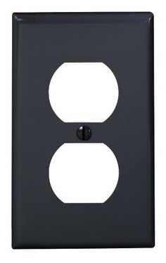 Leviton 80703-E 1-Gang Duplex Device Receptacle Wallplate, Standard Size, Thermoplastic Nylon, Device Mount, Black
