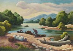 Current River Artwork by Thomas Hart Benton Hand-painted and Art Prints on canvas for sale,you can custom the size and frame