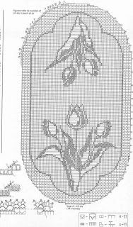 Pattern L: Tulip Happiness Free Crochet Doily Patterns, Filet Crochet Charts, Crochet Motifs, Crochet Cross, Crochet Doilies, Crochet Stitches, Crochet Table Runner, Crochet Tablecloth, Fillet Crochet