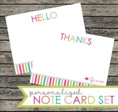Personalized Hello and Thanks note card set. Printable PDF and jpeg files included. Size A2: 4.25 x 5.5 inches. Colorful rainbow stripes