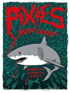 Pixies San Jose Poster by Matt Leunig On Sale Tour Posters, Band Posters, Music Posters, Pixies Band, San Jose Ca, Vintage Concert Posters, Retro Posters, We Will Rock You, Poster Prints