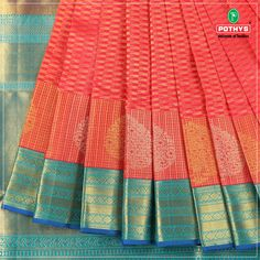 This is of contrasting blues and pink. The shine implemented on this saree is bound to make the wearer feel glamorous. Complete the look with red stoned jewelry. Gold Silk Saree, Indian Silk Sarees, Blue Saree, Pure Silk Sarees, Indian Dance Costumes, Silk Saree Kanchipuram, Indian Wedding Outfits, Interior Designing, Saree Blouse Designs