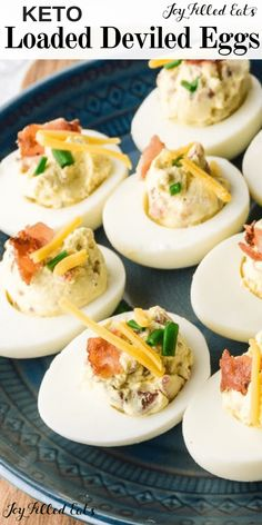 Loaded Deviled Eggs with Bacon - Keto, Low Carb, THM S, Gluten-Free - These delicious keto deviled eggs with bacon have a creamy and velvety sour cream filling, with savory cheddar cheese, crunchy bacon, and fresh chives. If you need a quick low carb appetizer to bring to a holiday party, or an easy recipe to pack in your lunch, this is a recipe you'll definitely want to try. #keto #lowcarb #snacks #appetizers #glutenfree #grainfree #thm #trimhealthymama #bacon