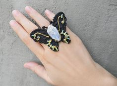 Black Lace butterfly ring with Blue raw Kyanite crystal Huge
