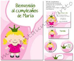 Kit de cumpleaños de la princesa, invitaciones, tarjetas mesa, etiquetas, toppers, servilleteros y cartel de bienvenida