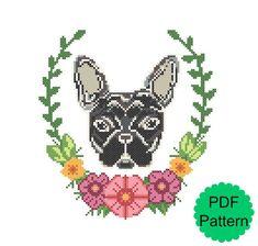 Black French Bulldog Cross Stitch Pattern | PDF Modern Floral Cross Stitch | Instant Download | Flowers Dog Wall Decor Gift