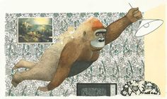 From Gorilla by Anthony Browne. Browne, born in 1946 in Sheffield, Yorkshire, is a writer and illustrator of children's books. The painting behind the swinging gorilla is The Fall of Icarus by Bruegel, an illustration about someone else who tried to fly.