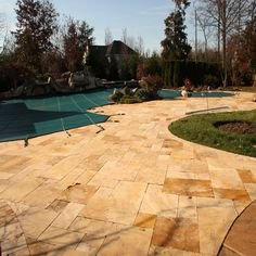 Elegant Gold Tumbled Travertine Pavers - tropical - Exterior - New York - Elegant Tile and Stone Luxury Landscaping, Landscaping Company, Travertine Pavers, Pool Contractors, Pathways, Fixer Upper, Natural Stones, Home Improvement, Sidewalk