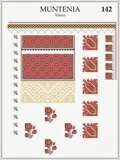 Muntenia, Vlasca Folk Embroidery, Learn Embroidery, Embroidery Patterns, Cross Stitch Patterns, Machine Embroidery, Popular Costumes, Paper Butterflies, Antique Quilts, Embroidery Techniques