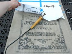 Transferring  A Detailed French Graphic To Wood Using A Woodworker's Transfer Tool ... she shows how she does it ........ #DIY #woodworkerstool #tool #wood #graphic #typography #furniture #French #fdecor #crafts #sign