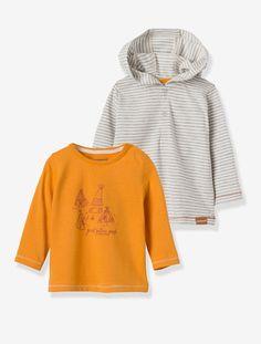 Lote de 2 camisolas de mangas compridas, para bebé menino