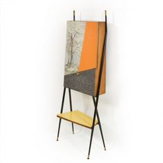 Anonymous; Painted Metal, Brass, and Laminated Wood Bar, 1950s.