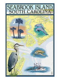 Seabrook Island, South Carolina - Nautical Chart Prints by Lantern Press at AllPosters.com