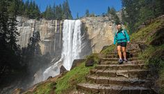Hiking past Vernal Fall on the Mist Trail in Yosemite. Photo by Grant Ordelheide