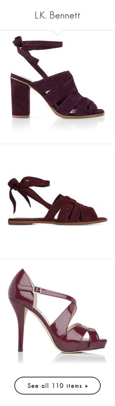 """L.K. Bennett"" by duchessq ❤ liked on Polyvore featuring shoes, sandals, heels, burgundy, suede sandals, burgundy evening shoes, l.k. bennett shoes, high heeled footwear, tie shoes and suede shoes"