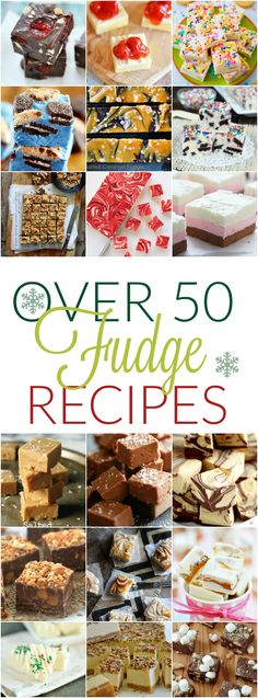 Fudge Recipes More than 50 recipes for holiday fudge including Pralines and Cream, Vanilla Bean, and S & # mores! Fudge Recipes, Sweets Recipes, Candy Recipes, Just Desserts, Cookie Recipes, Delicious Desserts, Wok Recipes, Yummy Recipes, Baking Recipes