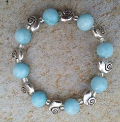 Blue Larimar quartz bracelet, double sided nautilus shell silver plated metal beads, natural gemstones, sky blue Larimar quartz stretch brac by CCGemstoneJewelry on Etsy