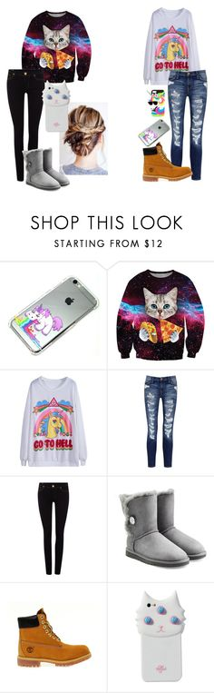 """cats and unicorns"" by caitlynwayward on Polyvore featuring Chicnova Fashion, Current/Elliott, True Religion, UGG Australia, Timberland and Valfré"