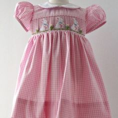 aa8188aac6b Pink Gingham Easter Bunny Dres Easter Outfit