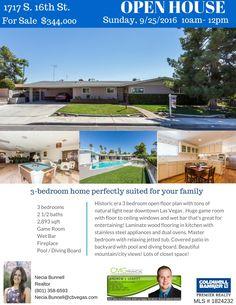 OPEN HOUSE!!! 1717 S 16th St, Las Vegas, NV -- 9/25/2016  #GregSellsLasVegas #LasVegasHomes #ColdwellBanker
