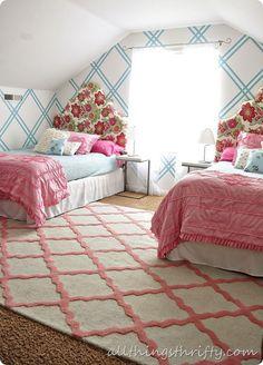 Girls Tween Bedroom Makeover {Gold, Turquoise, Magenta, & Pink}