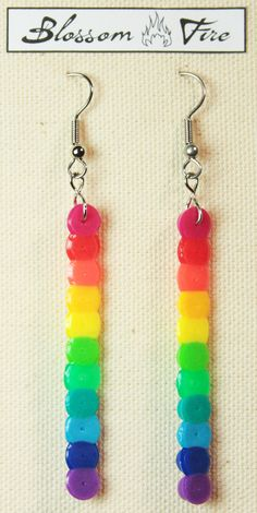 Perler Rainbow Earrings by blossomfire on Etsy