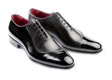 Men's oxford shoes genuine leather made in Italy artisan handmade polish/laquer black classic laced- Mod. Ischia