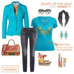"""Maraboo combining turquoise with the Greek mythology creates the new collection called Hellenic Heritage and specifically the t-shirt """"Queen Pasiphae"""". Turquoise Blazer, Dark Jeans, Industrial Style, Casual Chic, Outfit Of The Day, What To Wear, Queen, Boys, T Shirt"""