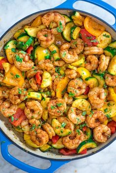 This Easy Shrimp and Vegetable Skillet makes a healthy quick and delicious dinner! Packed with wild-caught shrimp tender zucchini and sweet bell peppers it is going to become your favorite seafood dish! Shrimp Recipes For Dinner, Shrimp Recipes Easy, Salmon Recipes, Fish Recipes, Healthy Dinner Recipes, Cooking Recipes, Chicken Recipes, Skillet Recipes, Shrimp And Zucchini Recipe