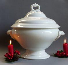 White Soup Tureen. Large Vintage Soup Tureen. French Vintage Soup Serving Bowl. White Vintage Soup Tureen. CHRISTMAS GIFT. French. Vintage. by JadisInTimesPast on Etsy