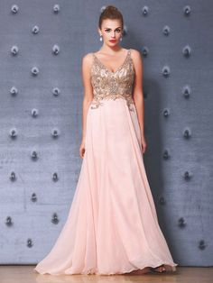 A-line V-neck Tulle Chiffon Floor-length with Beading Prom Dresses #UKM020103829