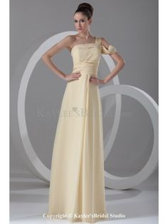 Chiffon Asymmetrical Neckline Floor Length Column Prom Dress