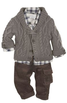 Tartine et Chocolat - Boys cable knit sweater, plaid button-up shirt, and corduroy pants. Baby Outfits, Outfits Niños, Little Boy Outfits, Kids Outfits, Fashion Kids, Baby Boy Fashion, Babies Fashion, Toddler Boys, Baby Kids