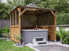 Our Louvre panels provide you with both privacy and ventilation. You can tilt the slats allowing you to choose how open, or enclosed, your Gazebo is. Hot Tub Pergola, Hot Tub Garden, Hot Tub Backyard, Jacuzzi Outdoor, Backyard Pool Landscaping, Backyard Patio Designs, Deck Gazebo, Hot Tub Privacy, Hot Tub Surround