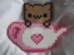 Kitty in a tea cup perler Sprite