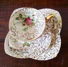 vintage original Bavaria tea cup trio set by OrsaMaggioreVintage