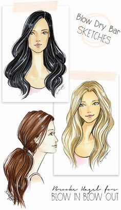 Blow Bar Hair Sketches by Brooke Hagel #Hairillustration #HairSketch #Fashionillustration