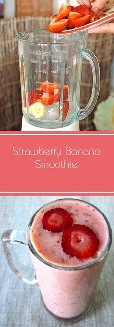 Strawberry Banana Smoothie. Make And Share This Strawberry Banana Smoothie Recipe. #smoothie #recipes #weightloss #detox #healthy #breakfast #fruits #strawberry #banana