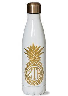 Zeta Tau Alpha Pineapple Water Bottle.  www.sassysorority.com #ZTA #zeta #pineapple #waterbottle #sassysorority #zetataualpha #mug #tumbler #bidday #sororityletters