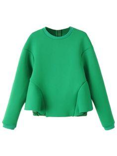Shop Green Long Sleeve Falbala Sweatshirt from choies.com .Free shipping Worldwide.$34.99