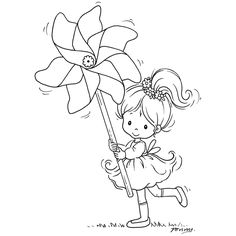 Stampavie Clear Stamps - Little Tobi with pinwheel Coloring Book Pages, Copics, Digital Stamps, Coloring Pages For Kids, Clear Stamps, Embroidery Patterns, Sketches, Scrapbooking, Drawings