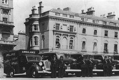 American donated ambulances parked on Plymouth Hoe 1940s, via Flickr.