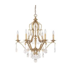 Capital Lighting Fixture Company Blakely Antique Gold Six Light Chandelier With Crystals