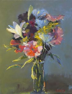 Nina's Flowers by Lynn Whipple - love the colors + the freedom of the marks