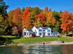 autumn lake home pieces) Beautiful Homes, Beautiful Places, Autumn Lake, Outside Living, Colorful Trees, Waterfront Homes, My Dream Home, Dream Homes, Fall Photos