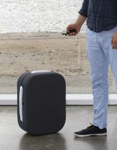 A suitcase that follows its owner through Bluetooth connection with the mobile phone...