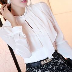 2015 Autumn Womens Blouses Ladies White Blouse Elegant Loose Stand Collar Women Long Sleeve Casual Shirts Blusa Chiffon SJM