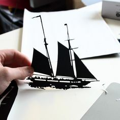 silhouette of ship, used for an art project at the nursing home