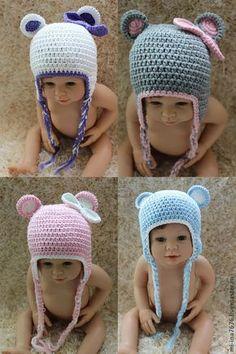"Купить Шапка ""Мишка"" - однотонный, шапочка, шапка с ушками, шапка детская, шапка крючком Crochet Baby Hats, Crochet For Kids, Baby Knitting, Knitted Hats, Knit Crochet, Knit Baby Dress, Knitting Designs, Lana, Baby Gifts"